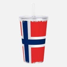 Grunge Flag of Norway Acrylic Double-wall Tumbler