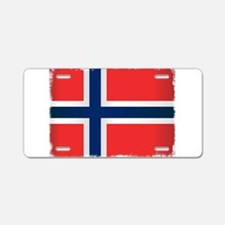 Grunge Flag of Norway Aluminum License Plate