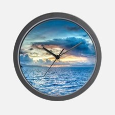 Bora Bora Sunset over he ocean Wall Clock