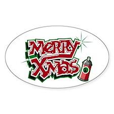 Merry Christmas Graffiti Oval Decal