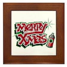 Merry Christmas Graffiti Framed Tile