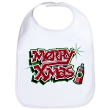 Merry Christmas Graffiti Bib