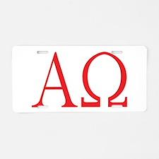 Alpha Omega Aluminum License Plate