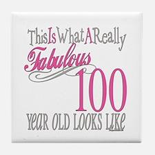 100th Birthday Gift Tile Coaster