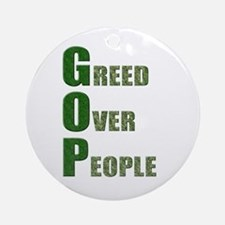 Greed Over People Ornament (Round)
