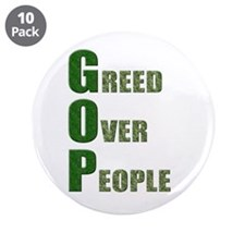 "Greed Over People 3.5"" Button (10 pack)"