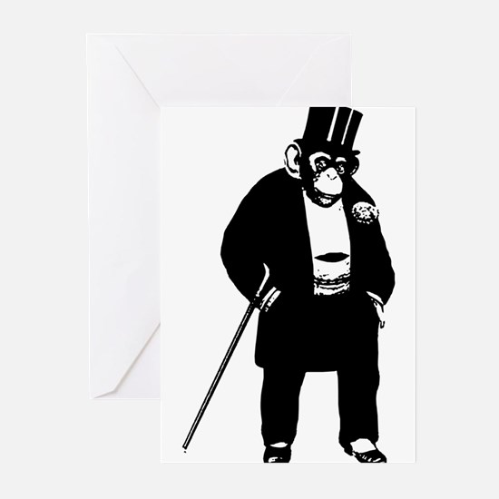 Chimpanzee with suit art Greeting Cards