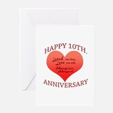 10th. Anniversary Greeting Cards