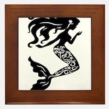Mermaid silhouette design Framed Tile