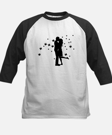 Couple kissing silhouette Baseball Jersey