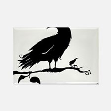 Crow on twig silhouette Magnets