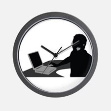 Call center operator with headphones Wall Clock