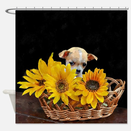 Cute Basket Shower Curtain