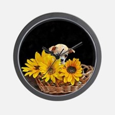 Chihuahua in sunflowers Wall Clock