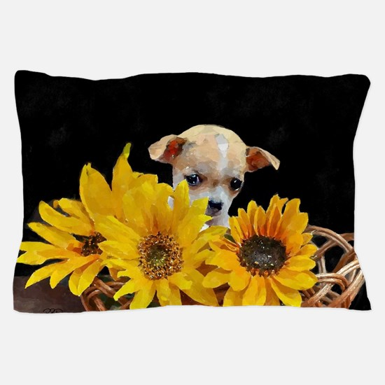 Chihuahua in sunflowers Pillow Case