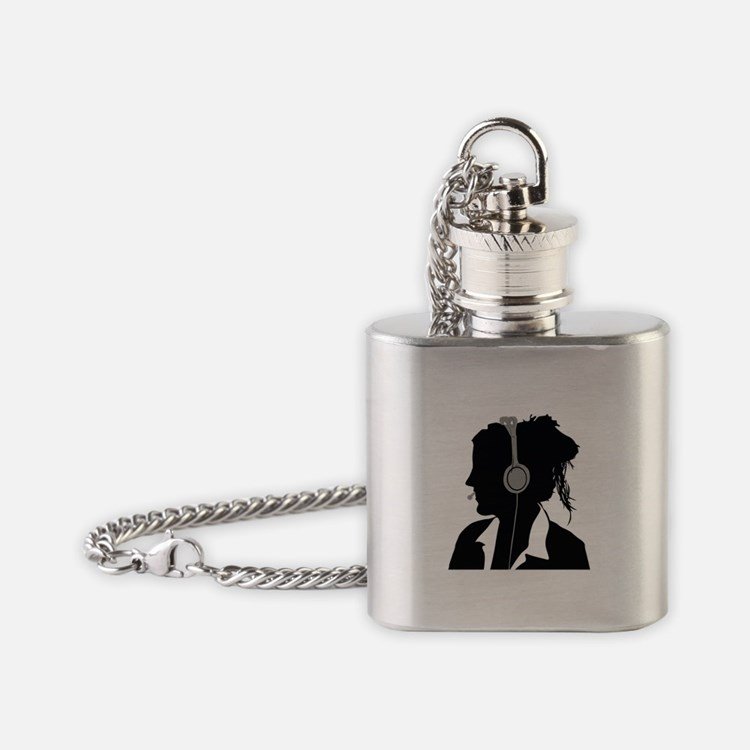 Call center operator with headphone Flask Necklace