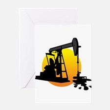 Oil field art Greeting Cards