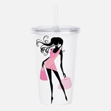 Fashion girl with hand Acrylic Double-wall Tumbler