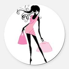 Fashion girl with handbag Round Car Magnet