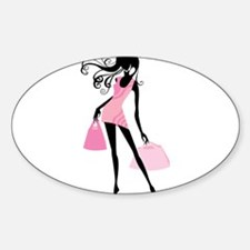 Fashion girl with handbag Decal