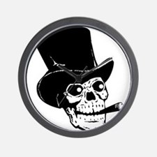 Skull with top hat and cigar clip art Wall Clock