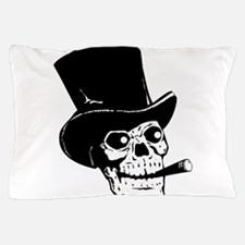 Skull with top hat and cigar clip art Pillow Case