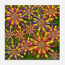 Harvest Moons Twirling Daisies Tile Coaster