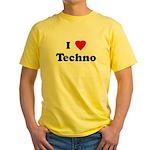 I Love Techno Yellow T-Shirt
