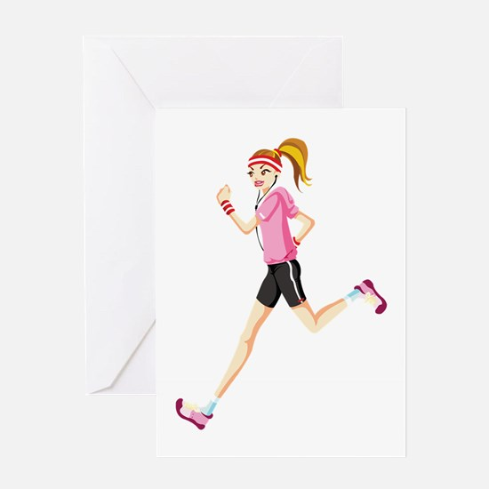 Running sport girl Greeting Cards