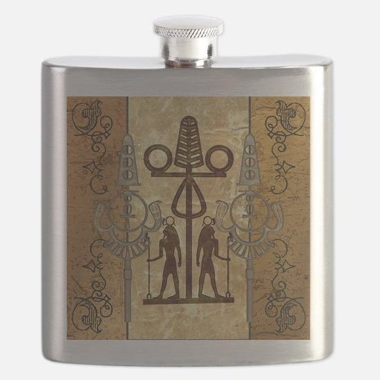 Egypt sign with floral elements Flask