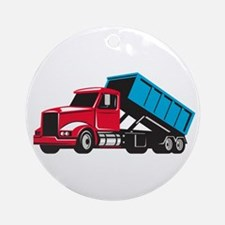 Roll-Off Truck Side Up Retro Round Ornament