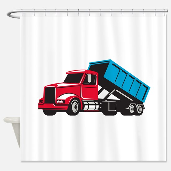 Roll-Off Truck Side Up Retro Shower Curtain