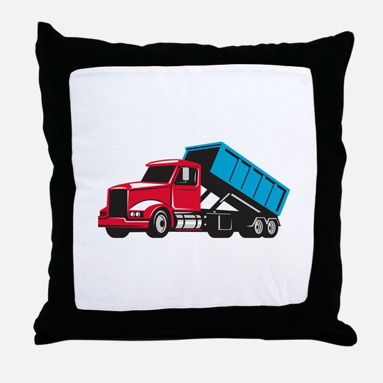 Roll-Off Truck Side Up Retro Throw Pillow