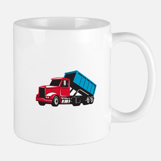 Roll-Off Truck Side Up Retro Mugs