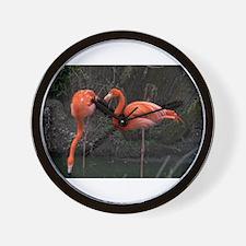 Standing Pink Flamingo's Wall Clock