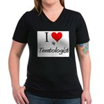 I Love My Teratologist Women's V-Neck Dark T-Shirt
