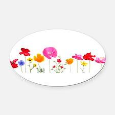 wild meadow flowers Oval Car Magnet