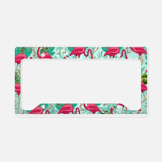 Pink Flamingos Fabric Pattern License Plate Holder