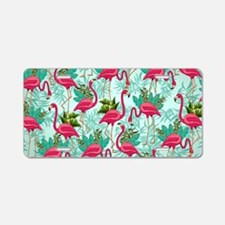 Pink Flamingos Fabric Pattern Aluminum License Pla