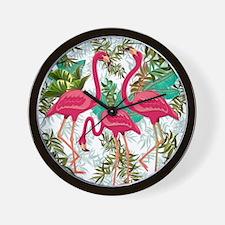 Pink Flamingos Fabric Pattern Wall Clock