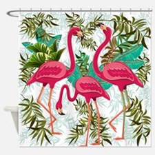 Pink Flamingos Fabric Pattern Shower Curtain