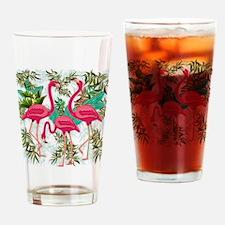 Pink Flamingos Fabric Pattern Drinking Glass