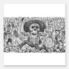"""Skull from Oaxaca by Pos Square Car Magnet 3"""" x 3"""""""