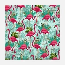 Pink Flamingos Fabric Pattern Tile Coaster