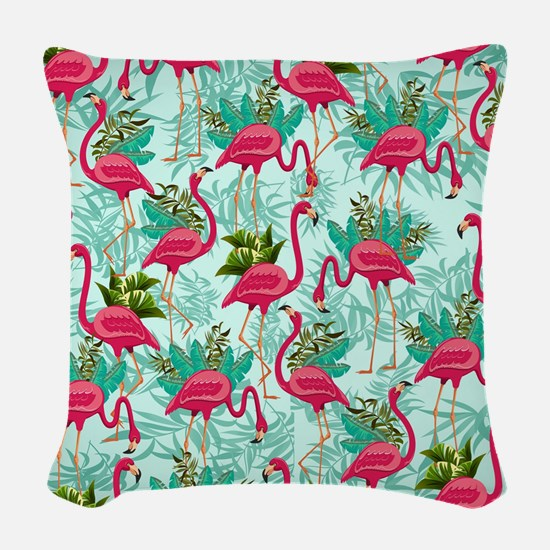 Pink Flamingos Fabric Pattern Woven Throw Pillow