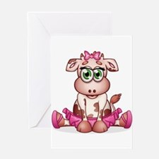 Baby Cow Ballerina Greeting Cards
