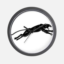 Panther jumping silhouette Wall Clock
