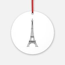 World famous Eiffel tower landmark Round Ornament