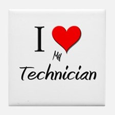 I Love My Technician Tile Coaster