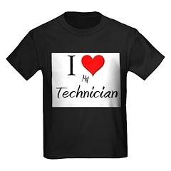 I Love My Technician Kids Dark T-Shirt